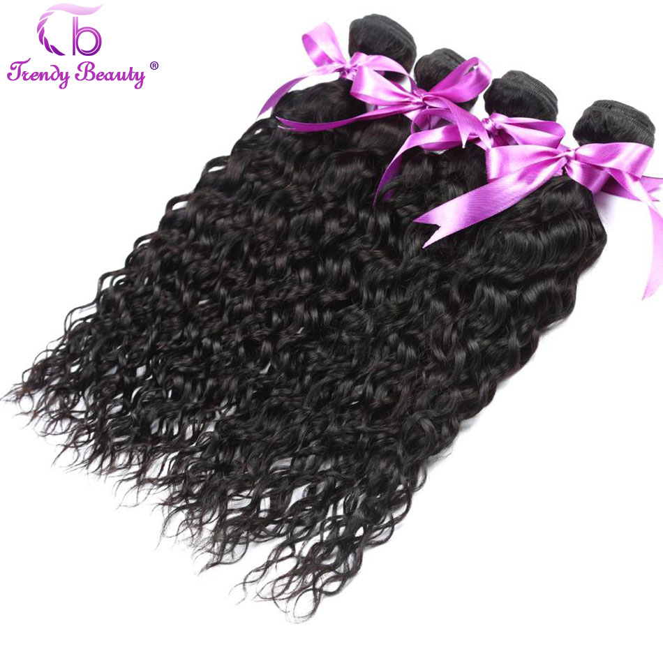 Trendy Beauty Peruvian Water Wave 100% Human Hair Bundles 4pcs/lot Natural Black Color Non-remy Hair Weave With Free Shipping