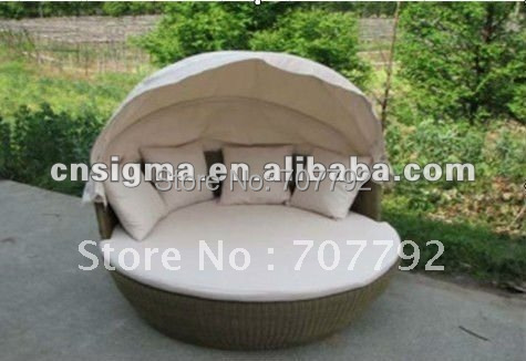 Uberlegen Wicker Outdoor Sonnenbett Mit Baldachin In Wicker Outdoor Sonnenbett Mit  Baldachin Aus Garten Sofas Auf AliExpress.com | Alibaba Group