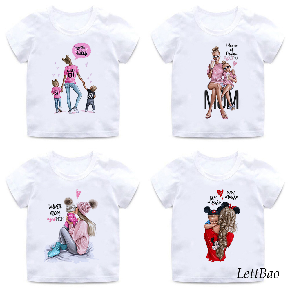 Mother's Lover Super Mom And Daughter Prints Sweet Little Girls T-shirt 2 To 12 Years Birthday Gifts Soft Cotton Kids T Shirt