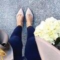 Предварительно весной открытый случайные плоские туфли женщина с острым носом кросс-привязанные ремень рабство обувь мелкой балетки оксфорд chaussure femme