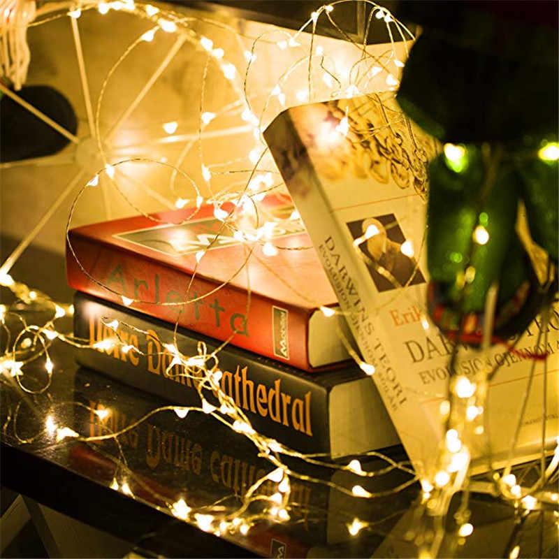 1-5 m 요정 빛 cr2032 배터리 전원 led 미니 크리스마스 빛 구리 와이어 문자열 빛 결혼식 크리스마스 갈 랜드 파티 실내