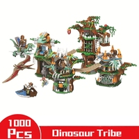 1000Pcs Jurassic Dinosaur Figures World 2 Dinosaurs Tribe Building Blocks Compatible Legoings Park Animals Toys For Children Boy