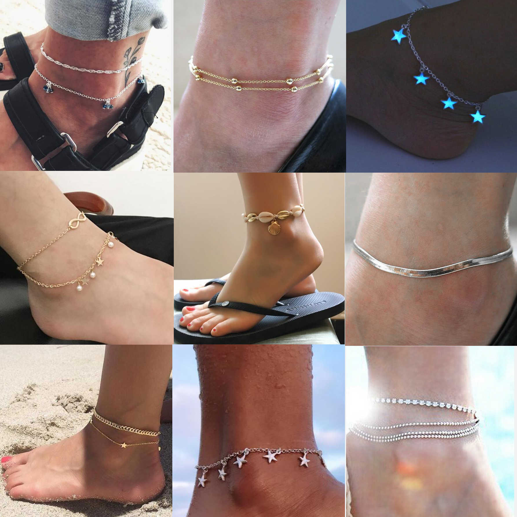 Anklet For Women Pearl Fashion Sexy Girls Heart Trend Jewelry Gift Beach Barefoot Simple Sandals Summer Charm Women Wedding
