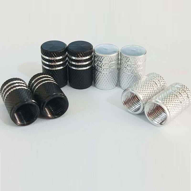 4pcs Silver Black Aluminum Alloy Wheel Dry Air Valve Cap Automobile Tire Valve General Automobile Truck Bicycle Dust Dust Cap