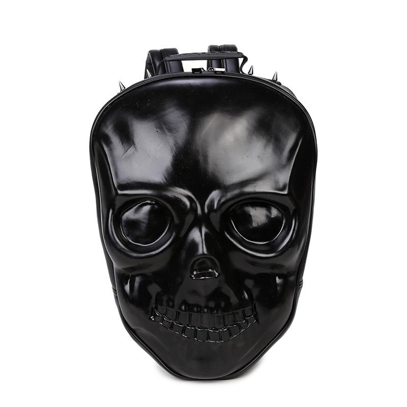 New Unisex Black Leather Backpack 2017 New Brand Women Rock Style Zipper Shoulder Bags Teenagers Skull Printing Backpacks