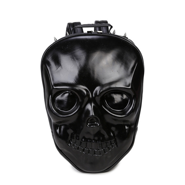 New Unisex Black Leather Backpack 2017 New Brand Women Rock Style Zipper Shoulder Bags Teenagers Skull Printing Backpacks