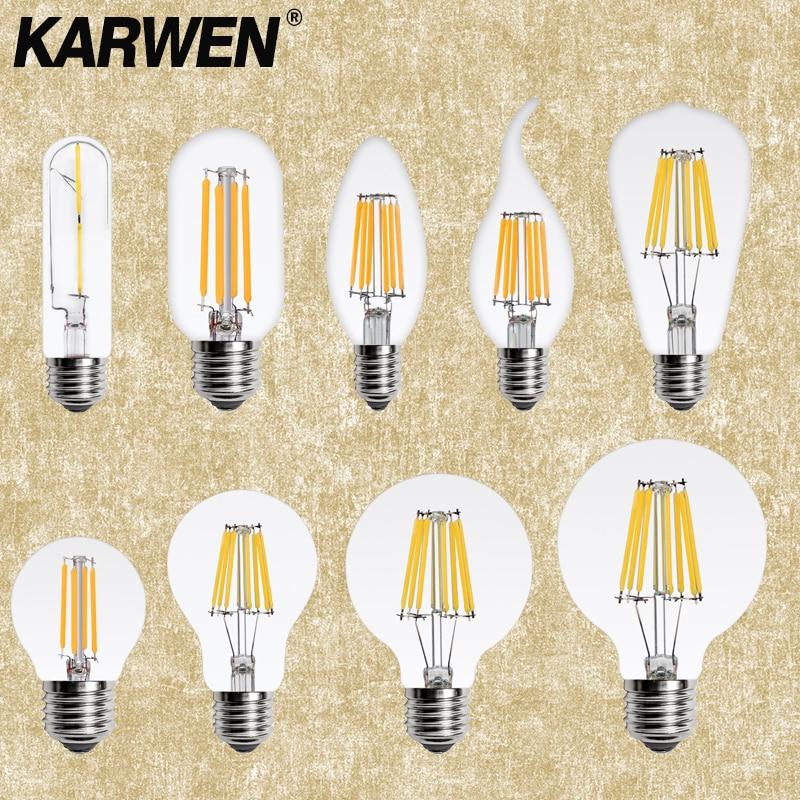 KARWEN LED Lamp Candle Bulb E14 E27 2W 4W 6W 8W AC 220V Retro Antique Glass Edison Bulb Vintage Led Filament Light 360 Degree