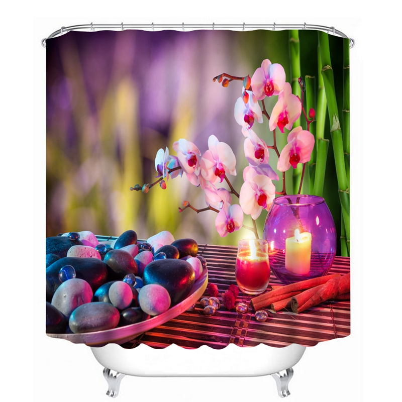 3D Flower Stone And Water Pattern Shower Curtains Bathroom Curtain Waterproof Thickened Bath Curtain Customizable