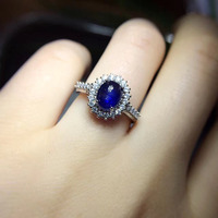 2017 Rings Qi Xuan_Dark Blue Stone Simple And Elegant Ring__S925 Solid Sliver Dark Blue Stone Rings_Manufacturer Directly Sales