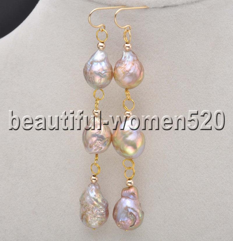 Us 18 0 Z8253 3line 13mm Pea Lavender Drip Edison Keshi Pearl Dangle Earrings In Drop From Jewelry Accessories On Aliexpress