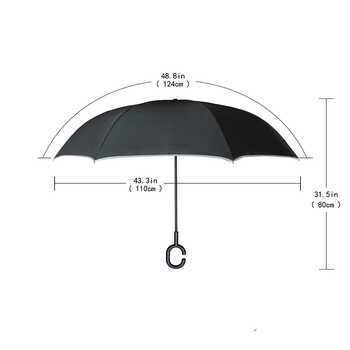 C Handle Windproof Shiba Inu ร่มผู้หญิงฝนรถ Inverted ร่ม Double Layer Anti UV Self Stand Parapluie