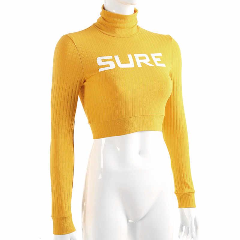 Weekeep, Женская водолазка с длинным рукавом, футболка с буквенным принтом, обрезанная женская футболка, 2018, повседневная Весенняя Осенняя футболка, женские топы