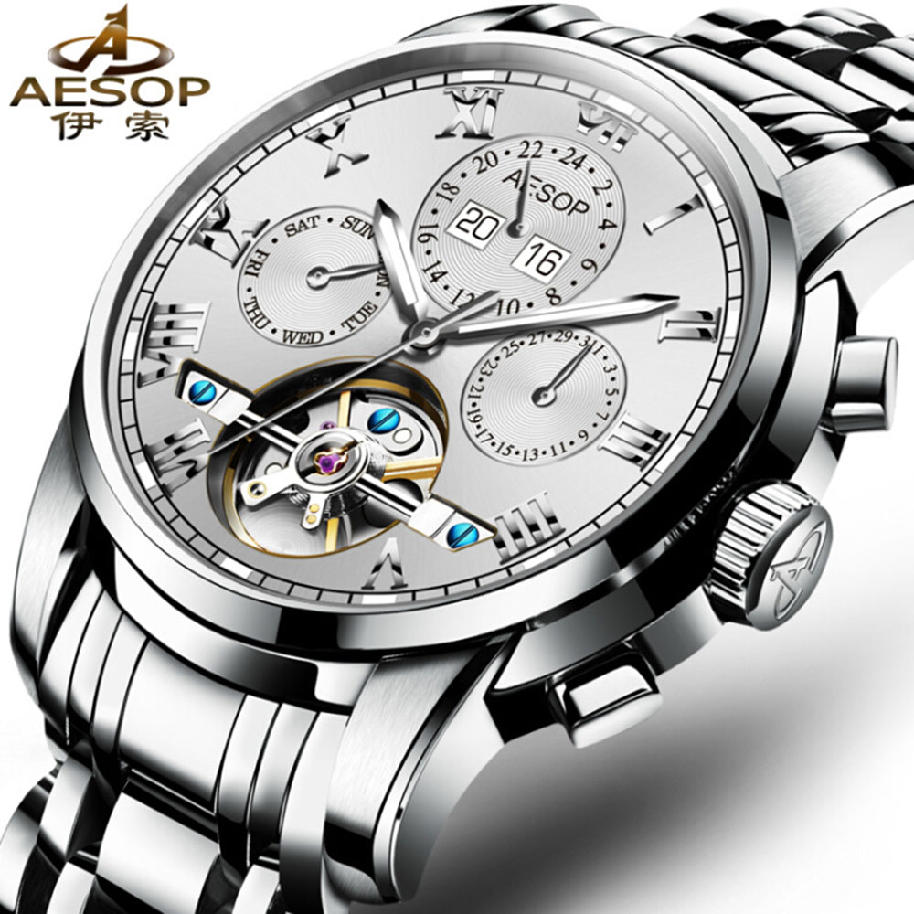 где купить AESOP Tourbillon Men Watch Automatic Self-Wind Hollow Black Dial Daydate Luminous Sapphire GassTransparent Relogio Masculino по лучшей цене