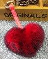 Romatic Heart Shape Sweet Rabbit Hair Fur Pompom Bag Pendant Key Ring Keychain Lovers Gift Bag Charm F104