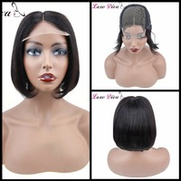 Human Hair Bob Wig Peruvian Lace Front Human Hair 4*4 Closure Black Women Remy Silky Straight Lace Front Wig Short Wig LUXE DIVA