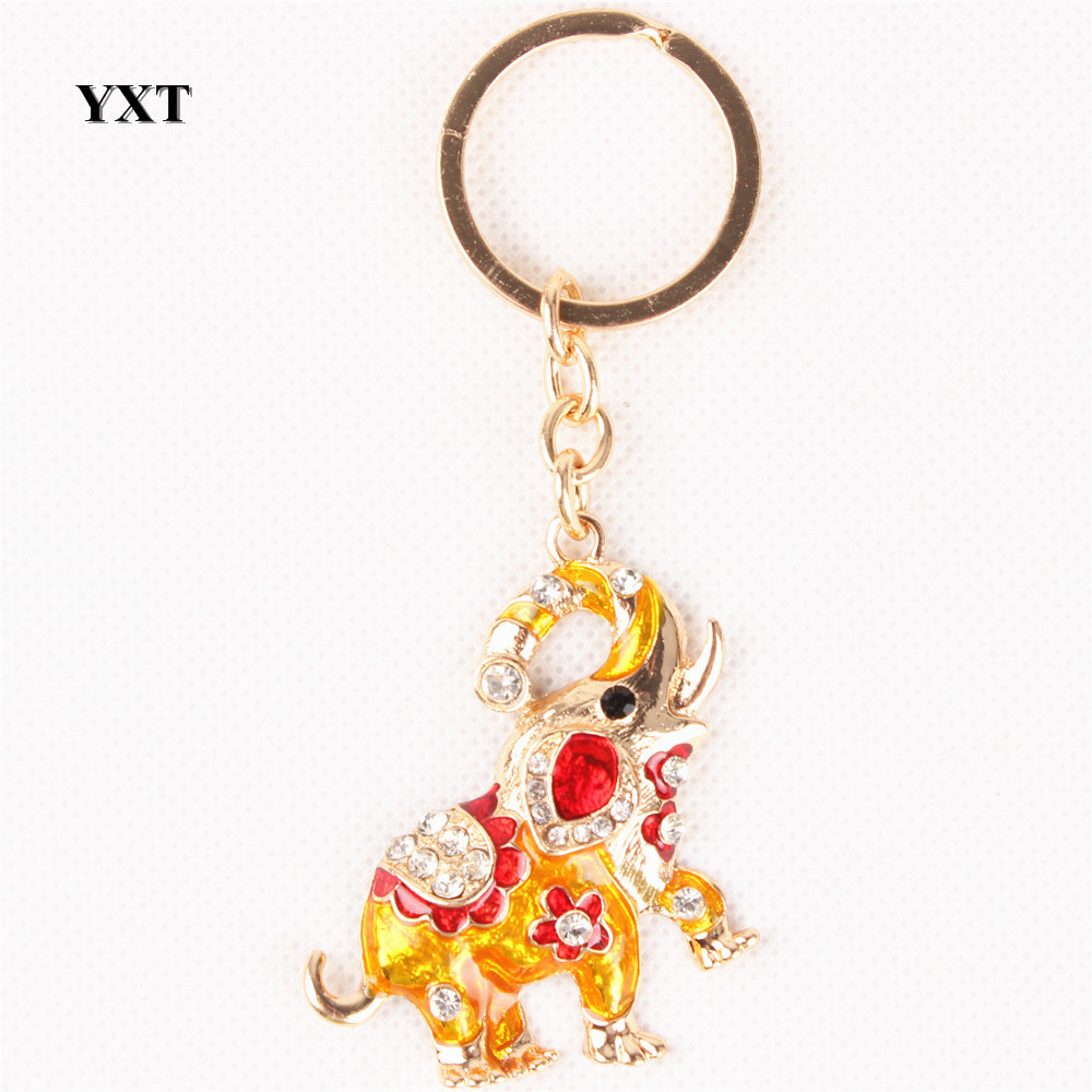 Elephant Lovely Fashion Cute Crystal Pendant Charm Purse Bag Car Key Keyring Keychain Metal Accessories Gift  - buy with discount
