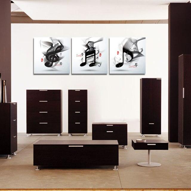 3 stück leinwand abtract kunst schwarz weiß musik cuadros druck, Wohnzimmer