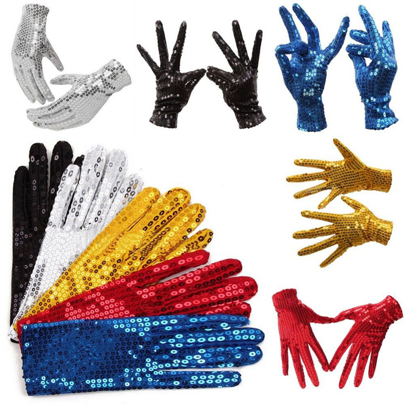 5colors Michael Jackson Children's Glove Evening Party Costume Gloves Sequined Gloves Dance At The Kindergarten's Kids Gloves