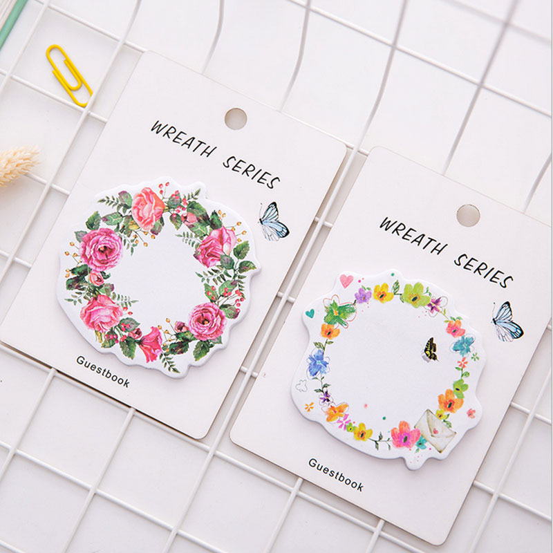 1X Creative kawaii wreath Memo Pad weekly plan Sticky Notes Post stationery School Supplies Planner Paper Stickers