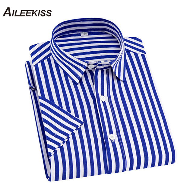2019 Summer Brand New Camisas Para Hombre Casual Striped Work Men Shirts Short Sleeve Cotton 4XL Fashion Floral Streetwear XT651