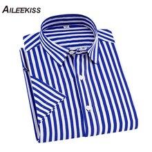 2019 Summer Brand New Camisas Para Hombre Casual Striped Work Men Shirts Short S