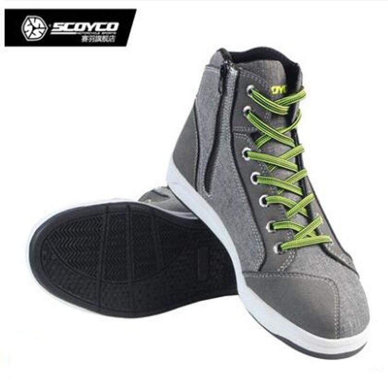 SCOYCO MT016レーシングシューズカジュアルスポーツブーツメンズオフロードバイクライディング保護ブーツ防護服亜麻マイクロファイバーscoyco mt016