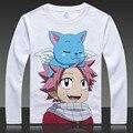 Fairy tail natsu lucy completa t shirt de impresión de manga larga tops camisetas otoño del resorte lindo cat feliz camisetas ropa