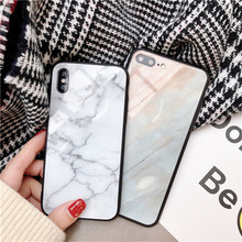 Luxury Marble Pattern Glass Case For iPhone X 10 Tempered glass Cover Bumper On The 7 6 6S 8 Plus Silicone Shell