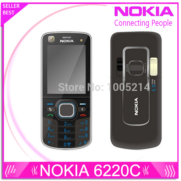 Original Nokia 6220 Classic A-GPS 3G 5MP Camera 6220c mobile phone wholesale Nokia 6220 Refurbished Free Shipping
