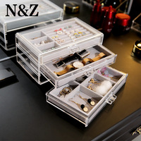 N&Z Clear Acrylic Makeup Storage 3 Drawer Box Display Stand Organizer Studs Holder With Jewelry Tray Rack