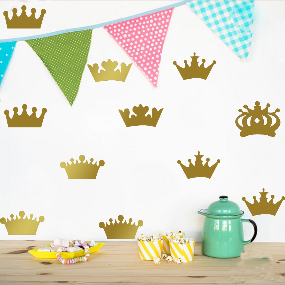 online get cheap crown wallpaper aliexpress com alibaba group 10pcs set 5 styles crown diy wall sticker removable wall decals vinyl kids room decor art home decoration mural wallpaper quote