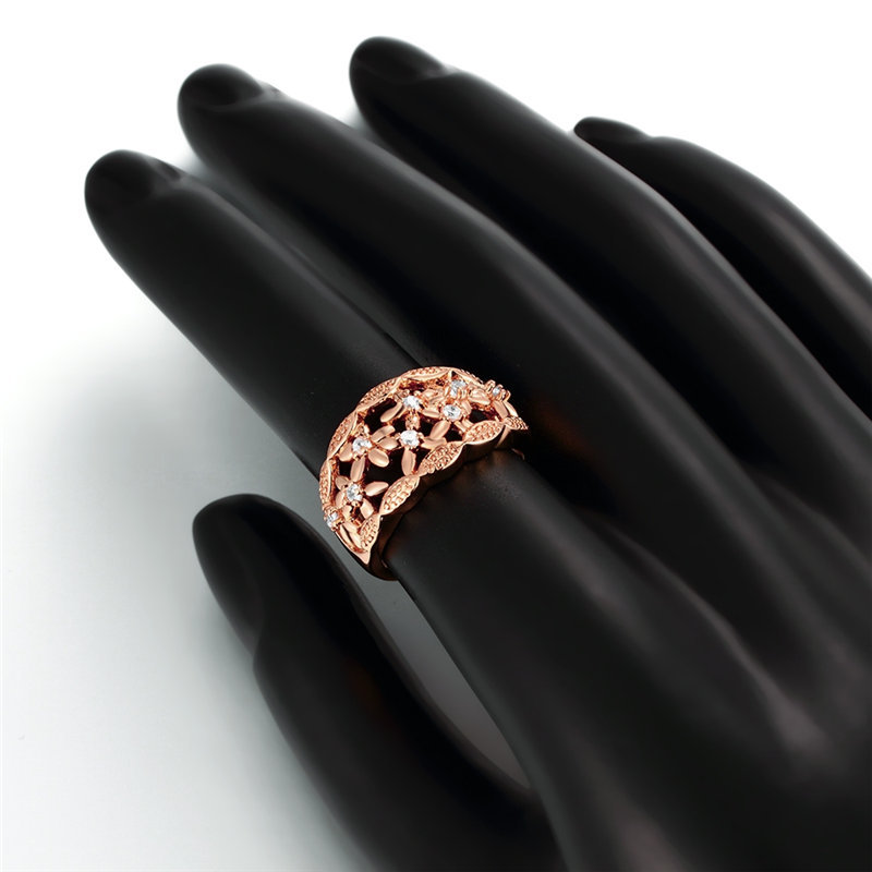 24K Yellow Gold Rose Gold Color Rings For Women Hollowed Out