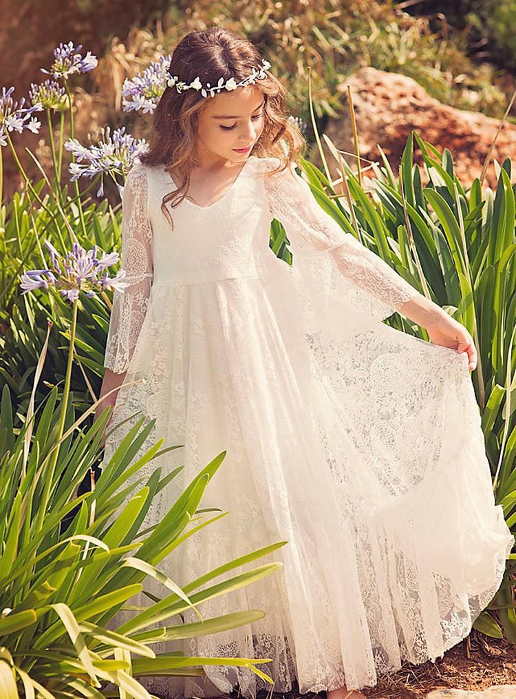2019 robes de demoiselle d'honneur blanc ivoire Boho première Communion robe pour petite fille v-cou à manches longues a-ligne pas cher enfants W