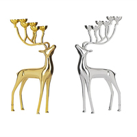 Candlestick Sliver Gold Metal Deer Holder Candle Stand Table Decorative Sliver Candelabra Wedding Bougeoir Home Decor QKL044