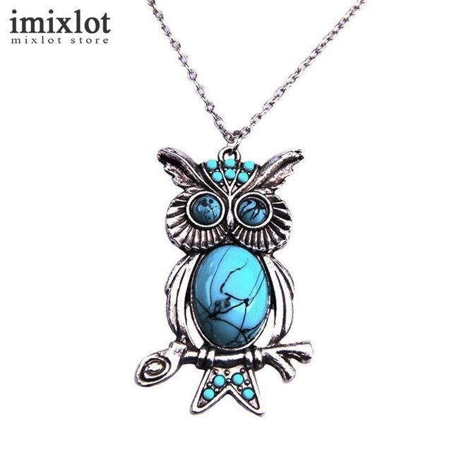Imixlot tibetan silver owl pendant necklace natural stone long imixlot tibetan silver owl pendant necklace natural stone long necklace sweater chain vintage statement necklace jewelry aloadofball Image collections