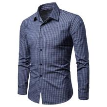 Plaid Shirt Mens Casual Long sleeve Dress Shirts Fashion Lattice Blouse Men New Arrival