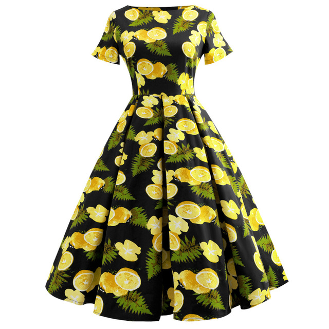 8a7746811605a Kenancy Lemon Print Women Dress Vintage Summer Autumn Pin Up Dress Feminino  Vestidos 50s Rockbilly Robe