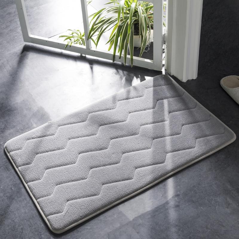 Simple onda baño puerta Mat absorbente antideslizante cuarto de baño  alfombra fácil para limpiar ...