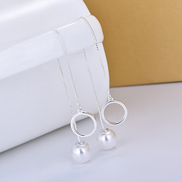 Серьги женские длинные серебряные с искусственным жемчугом