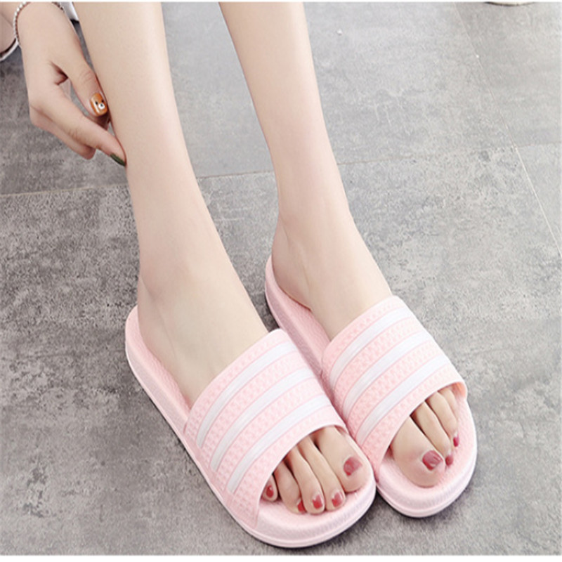 Teen Boys Girls Sandals Shoes Teenage Kids Summer Slippers Man Woman Beach Bath Shoes Home Slippers Casual Stripped PVC Shoes 21