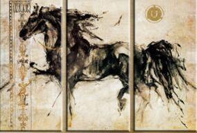 New HD printing Abstract Oil Painting Horse Art Wall Home Decor Unframed 3PCS
