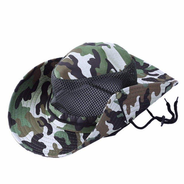 73700daeb57 Outdoor Sports Fishing Hat Camouflage Bucket Hat Fisherman Camo Jungle Bush  Hats Boonie UV Protection Wide Brim Sun Caps