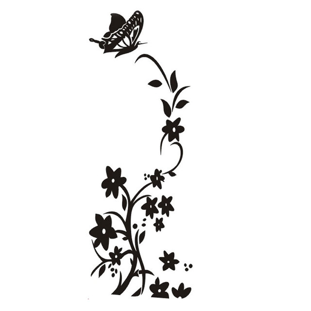 White and Black New Hot Butterfly Flower Vine Refrigerator
