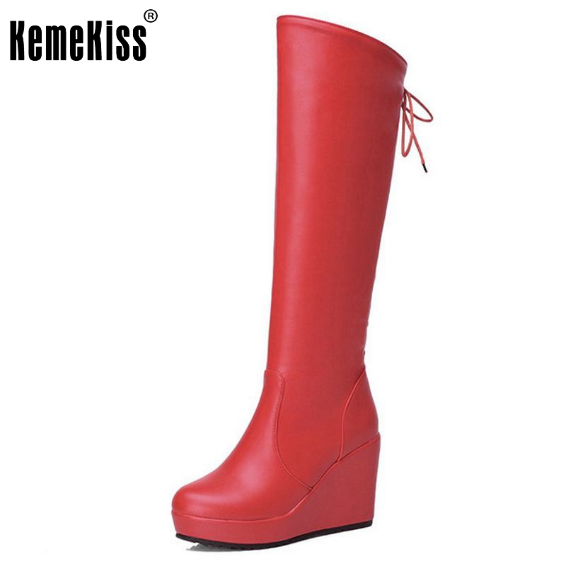 Women Wedge Over Knee Boots Fashion Cross Strap Winter Warm Riding Long Boot Masculina Botas Footwear Shoes Size 34-39