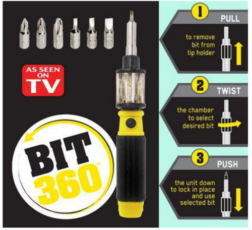 Binoax 6 in 1 Screwdriver Pocket Precision Screwdriver Bit 360 Twist-Bit Twist Bit As See On TV #ND00318# 5