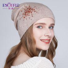 0f0c165c0c17e Gorros tejidos de invierno de piel de enjoypelo para mujer Forro cálido  diamantes de imitación gorros gorro de lana de angora de.