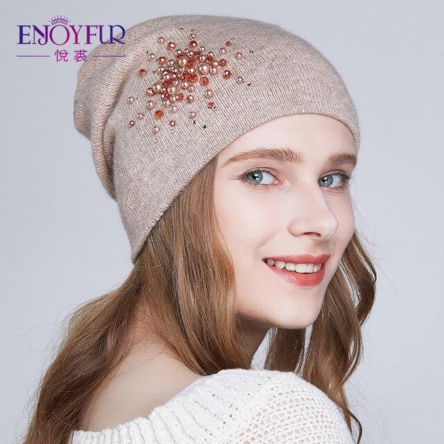 ENJOYFUR зимние женские шапки вязаные ангорской шерсти Стразы шапочки Шапки 2018 новые модные теплые шапки для леди