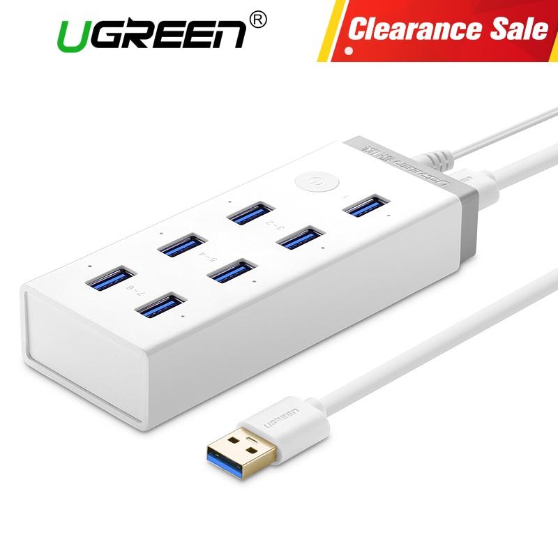 Ugreen USB 3.0 HUB 7 Port Super Speed USB Splitter with 12V 4A Power Charging Adapter for Macbook Computer Hubs Usb 3.0
