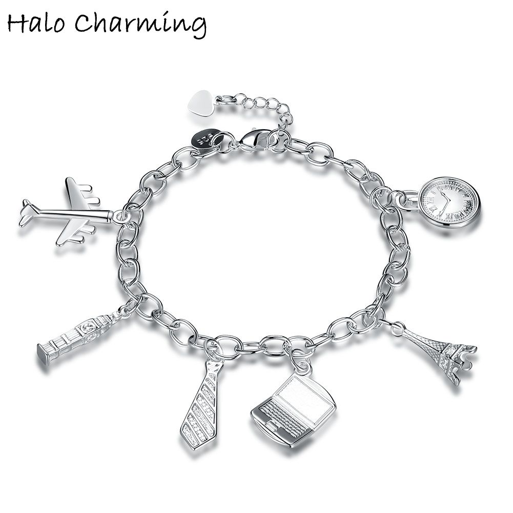 1 Piece Silver Plated Tie Aircraft Tower Shaped Pendants