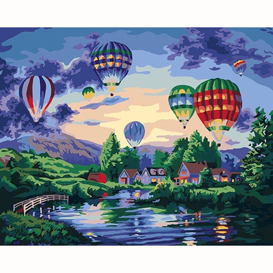 Ev Ve Bahce Ten Resim Ve Hat De Sicak Hava Balonu Ve Ruya Soyut El